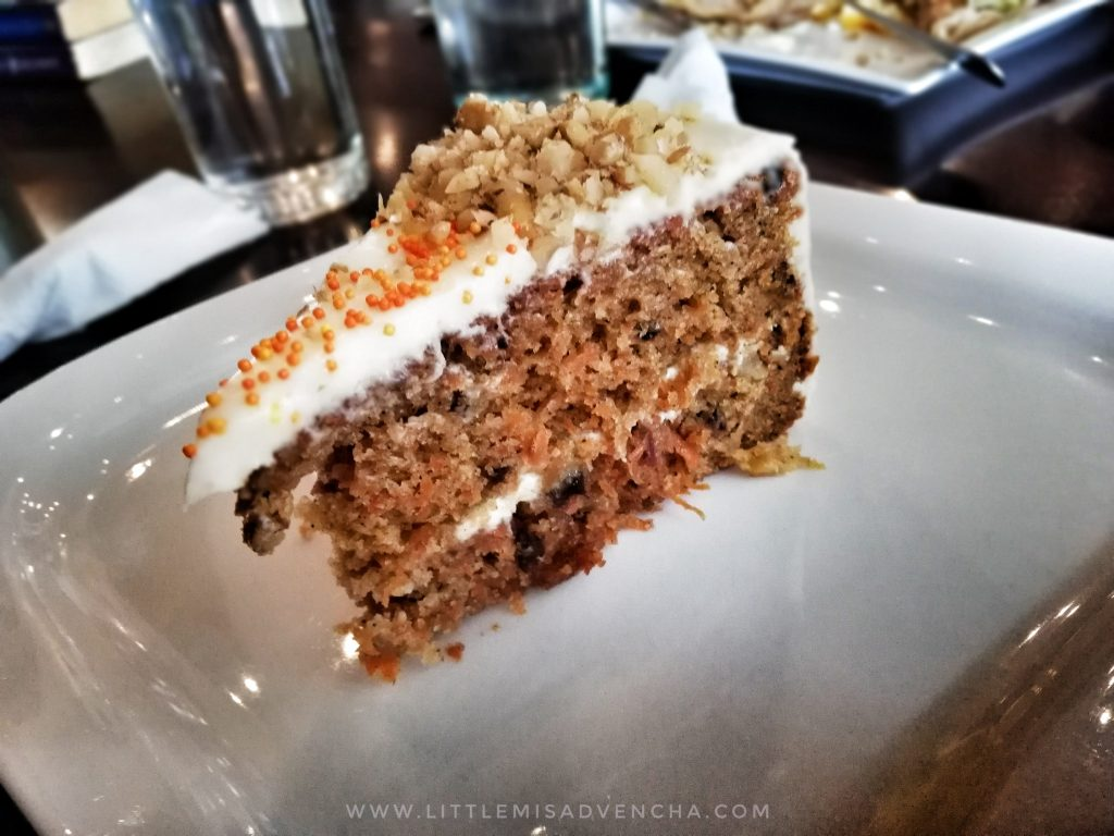 A slice of carrot cake at Book Latte Cafe.